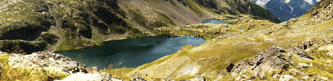 Mountain lakes panorama Royalty Free Stock Photography