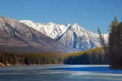 Mountain and lakes in Rockies royalty free stock image