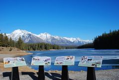Mountain and lakes in Rockies stock photo