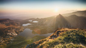 Mountain Lakes by Sunrise - Rila, Bulgaria Stock Photos