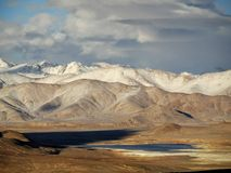 Mountain landcape in the Pamir. Mountain landscape in the Pamir in central Asia. High plateau Royalty Free Stock Photos