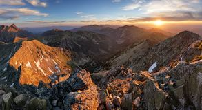 Mountain landcape panorama at summer in Poland Tatras near Zakop Royalty Free Stock Photography