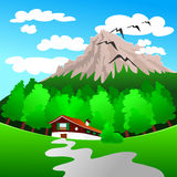Mountain landscape. With a small wooden house at the foot of the woods. Vector Royalty Free Stock Photos