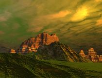 Mountain Landscape. A rugged mountain landscape under a beautiful sky royalty free illustration