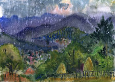 Mountain landscape. Rain. Watercolor from nature stock illustration