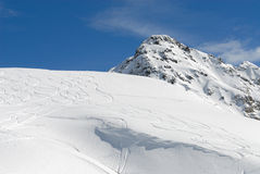 Mountain landscape. Wide angle panorama of French Alps. HiRes picture Royalty Free Stock Images