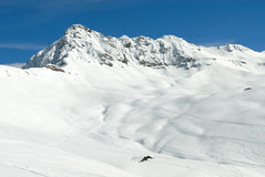 Mountain landscape. Wide angle panorama of French Alps. HiRes picture Stock Image