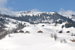 Mountain landscape. Wide angle panorama of French Alps. HiRes picture Royalty Free Stock Photo