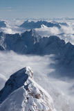 Mountain landscape. View from the highest peak of German alps, Zugspitze, Germany Royalty Free Stock Photos