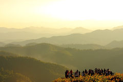Mountain landscape. In the evening with travelers Royalty Free Stock Photo