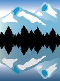 Mountain landscape. High mountain and silhouetted pine trees reflected in alpine lake. Also available as vector Royalty Free Stock Photography