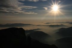 Mountain landscape. Picture taken in Ceahlau Massif, after sunrise Stock Photo