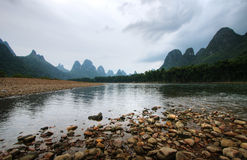 Mountain landscape. Li river karst mountain landscape in Yangshuo, China Stock Photography