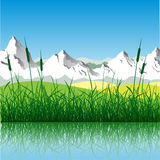 Mountain Landscape. Landscape with Mountains and Water Stock Photos
