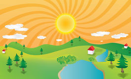 Mountain landscape. Abstract illustration of mountain landscape with sun, river, houses and pine trees stock illustration