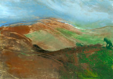 Mountain landscape, abstract painting Royalty Free Stock Photos