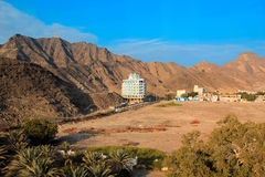 Mountain landscape in Aden, Yemen. View of buildings on the background of the mountains Stock Image