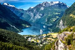 Mountain Landscape with Aerial View of Geiranger Fjord in Summer royalty free stock photography
