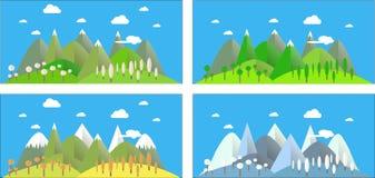 Mountain landscape in all seasons: spring, summer, autumn, winter blue. Modern flat design, design element Royalty Free Stock Photos
