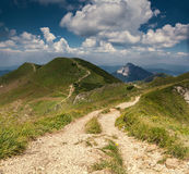 Mountain landscape with alone ridge pathway Stock Image