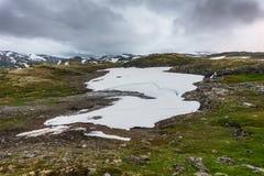 Mountain landscape along the National tourist route Aurlandstjel. Let. Flotane. Bjorgavegen. Western Norway Royalty Free Stock Photo