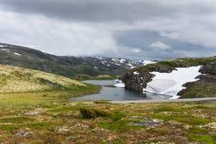 Mountain landscape along the National tourist route Aurlandstjel. Let. Flotane. Bjorgavegen. Western Norway Stock Photo