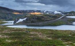 Mountain landscape along the National tourist route Aurlandstjel Royalty Free Stock Photos