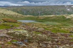 Mountain landscape along the National tourist route Aurlandstjel Royalty Free Stock Photo