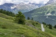 Mountain landscape along the road to Colle dell`Assietta royalty free stock photography