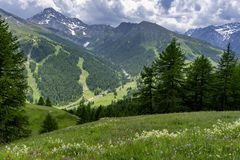 Mountain landscape along the road to Colle dell`Assietta royalty free stock image