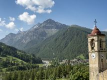 Mountain landscape along the road to Sestriere royalty free stock images