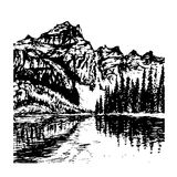Mountain landscape with alpine lake sketch  illu Stock Images