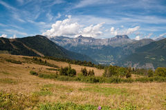 Mountain landscape. Alps, Chamonix. Valley, Col de Voza in France. Popular touristic destination Royalty Free Stock Photo