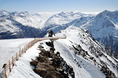 Mountain landscape of Austrian Alps. Mountain view from a ski track of Solden Stock Photo