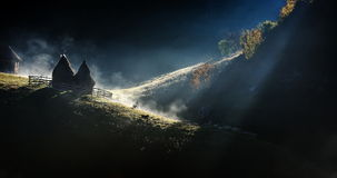 Mountain landscape with autumn morning fog at sunrise - Fundatur Royalty Free Stock Photos