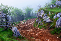 Mountain landscape with autumn morning fog at sunrise Royalty Free Stock Photo