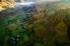 Mountain landscape in autumn morning - Romania Stock Photos
