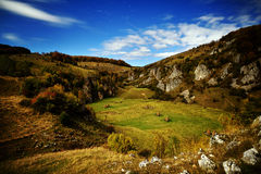 Mountain landscape in autumn by night - Fundatura Ponorului, Rom Royalty Free Stock Photo