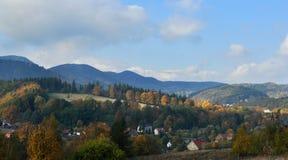 Mountain landscape. Autumn in the mountain village Stock Photos
