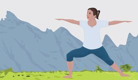 Mountain landscape background and a woman doing yoga excercise vector illustration