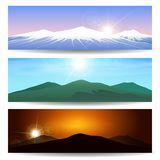Mountain landscape Banner Set. Set of different Mountain landscapes. Wild nature Vector banner set Stock Photography