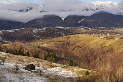 Rural mountain landscape. Beautiful landscape in the Carpathians, taken in December 2014. Piatra Craiului Mountains in the background Stock Photography