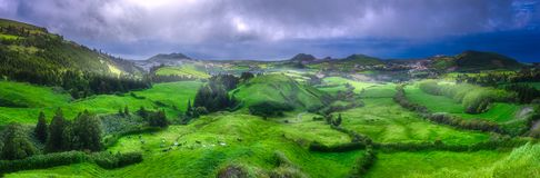 Cows on meadows and ocean on Ponta Delgada, Azores. Mountain landscape and beautiful meadows of Ponta Delgada with dramatic clouds, Sao Miguel Island, Azores Royalty Free Stock Photography
