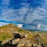 Mountain landscape with beautiful sky in Dobrogea, Romania Stock Photo