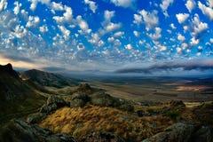Mountain landscape with beautiful sky in Dobrogea, Romania Royalty Free Stock Photos