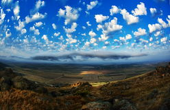 Mountain landscape with beautiful sky in Dobrogea, Romania Royalty Free Stock Image