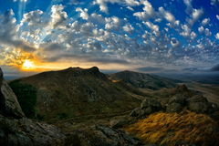 Mountain landscape with beautiful sky in Romania Stock Photos