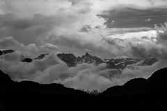 Mountain landscape in black and white contrasted dramatically su Royalty Free Stock Photo