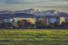 Mountain landscape with block of flats Stock Image
