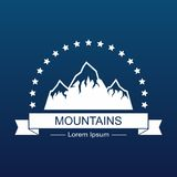 Mountain landscape on blue background. Mountain landscape  on blue background. Vector illustration Royalty Free Stock Photo